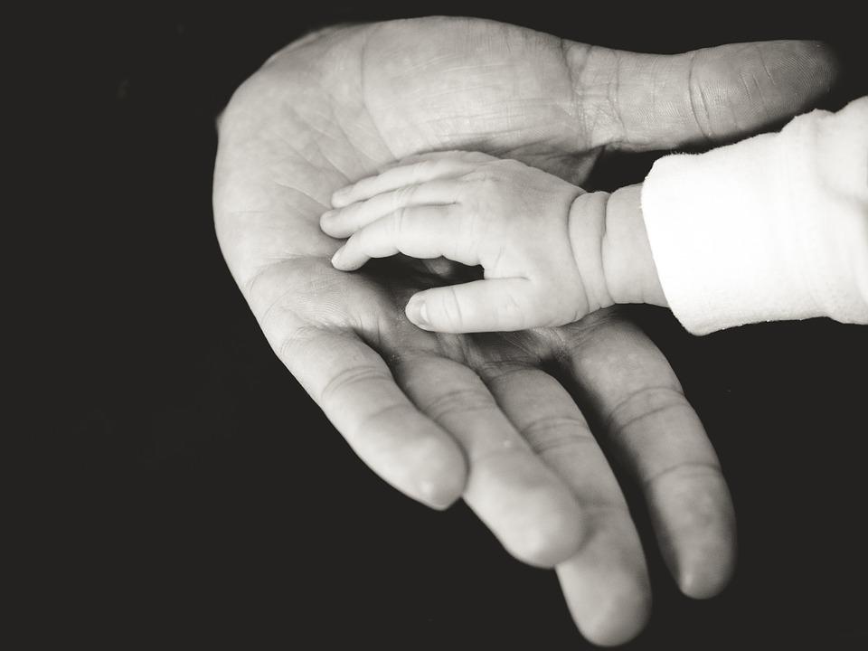 En lille og en stor hånd